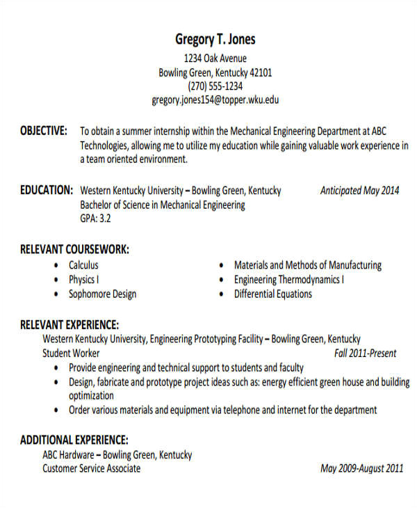 generic engineering resume template