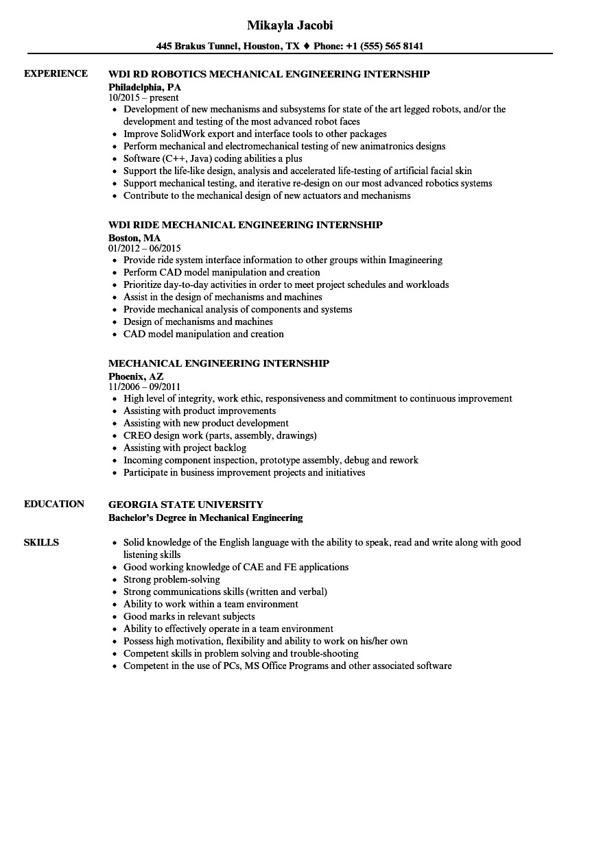mechanical engineering internship resume sample