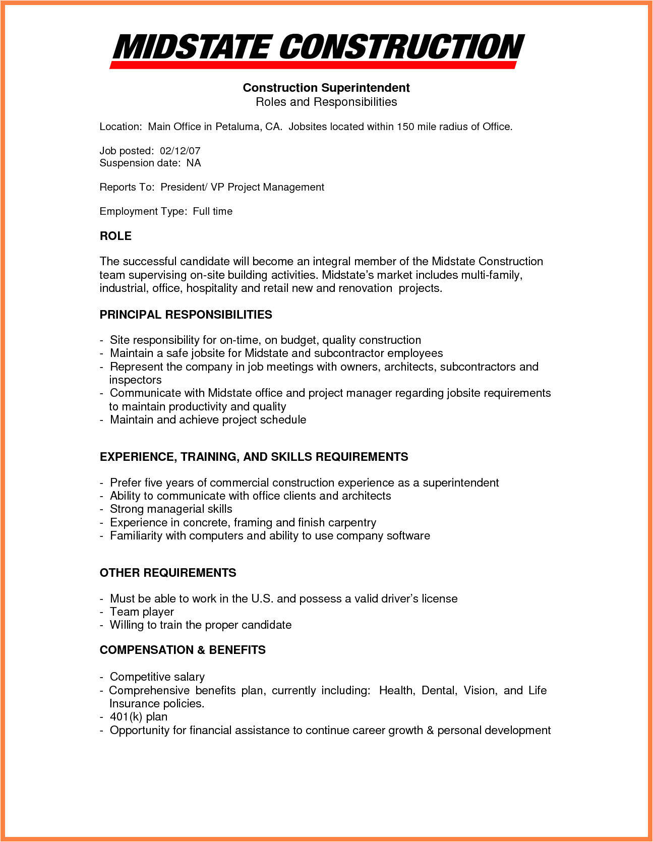 9 construction company resume template