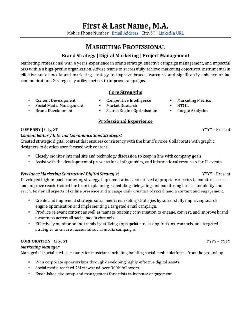 Sample Resume for It Companies Advertising Marketing Resume Sample Professional