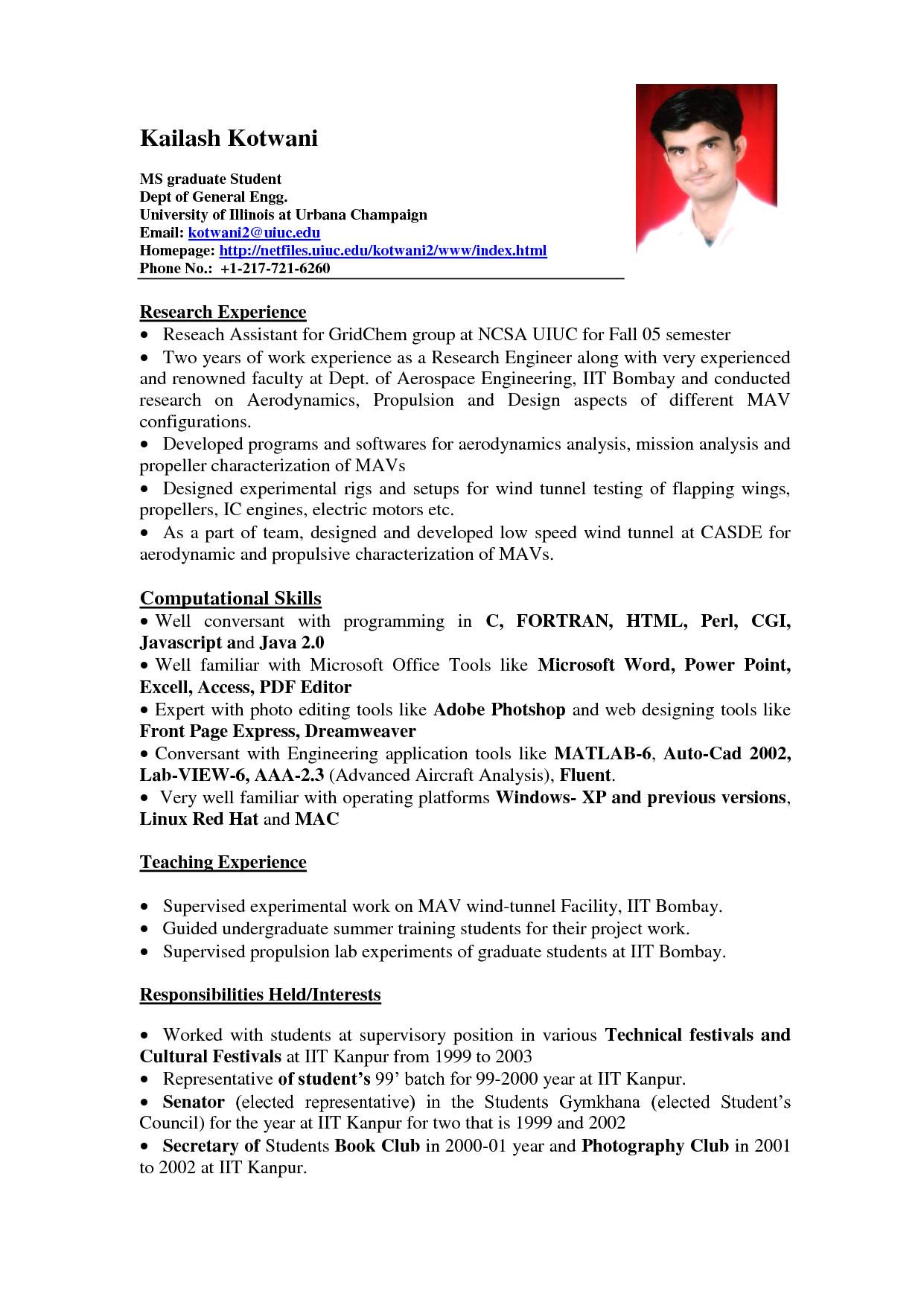 sample resume for it student with no experience