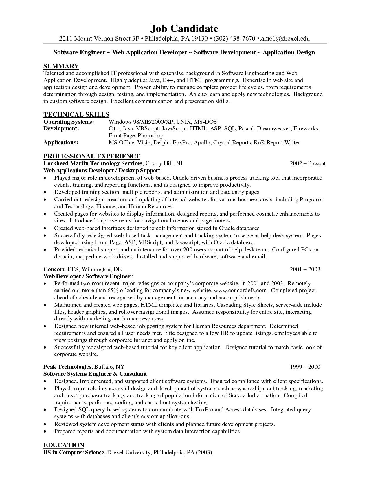 sample resume for java developer 2 year experience fresh web developer sample resume