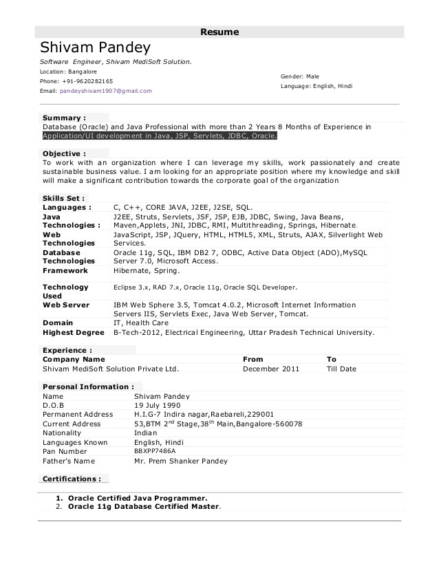 sample resume for java developer 2 year experience