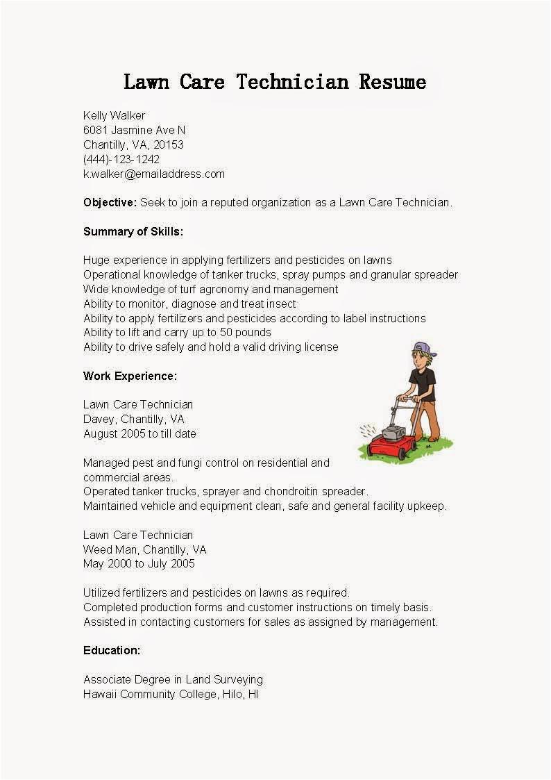 lawn care technician resume sample