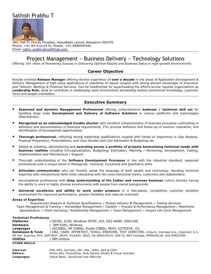 sample resume for mainframe production support