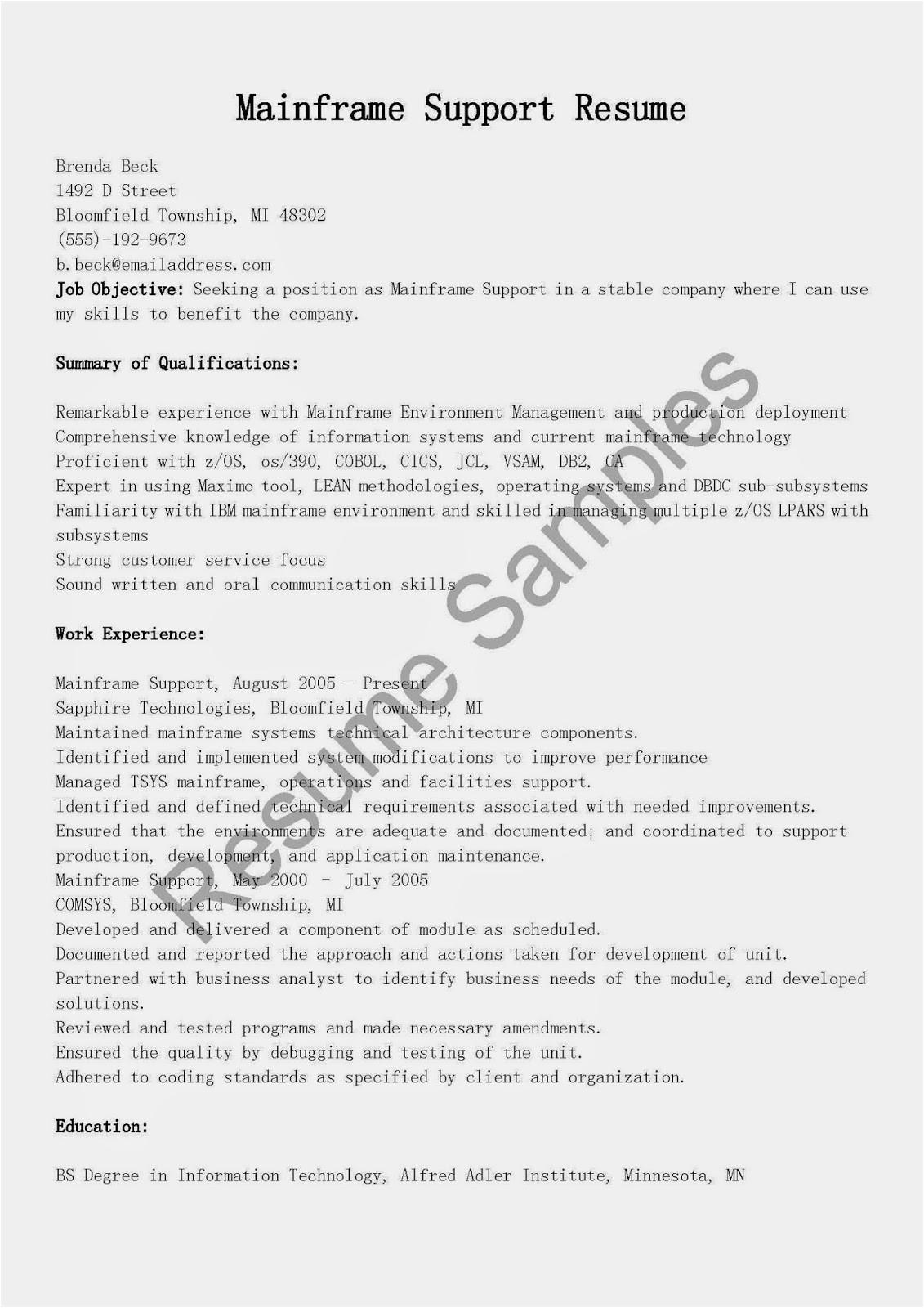 mainframe support resume sample