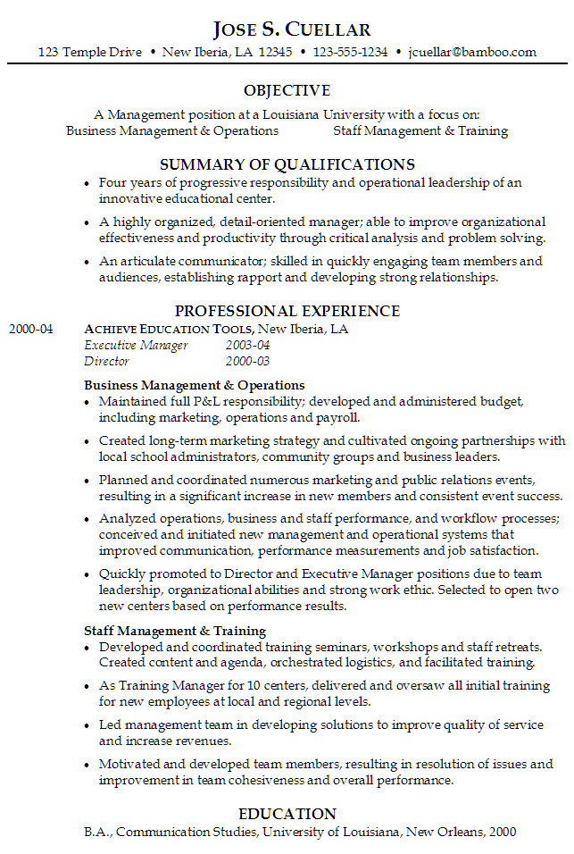 management position at a university focus operations and staff management