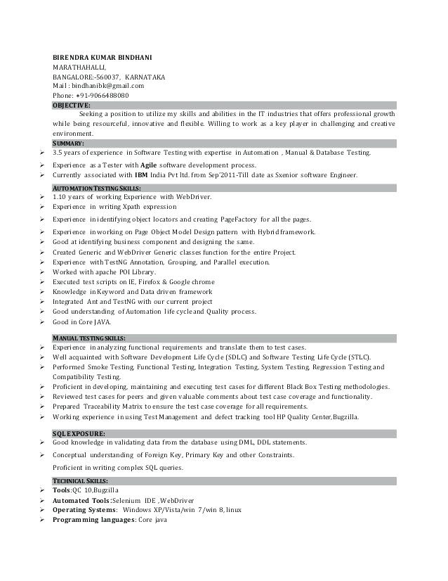 sample resume for manual testing professional of 2 yr experience download automation tester resume sample