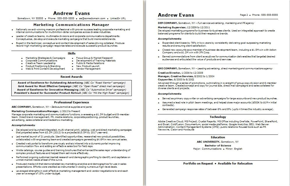 Sample Resume for Marketing Executive Position Marketing Communications Manager Resume Sample Monster Com