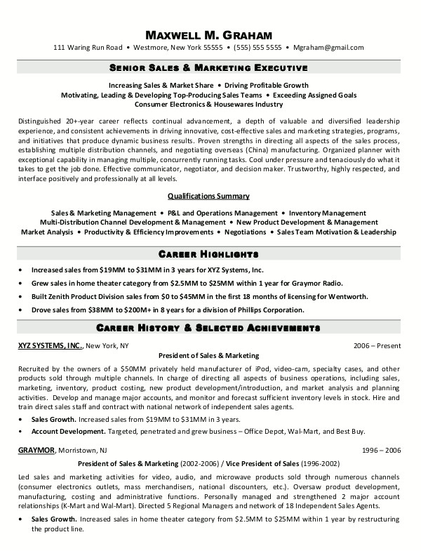 Sample Resume for Marketing Executive Position Resume Sample 5 Senior Sales Marketing Executive