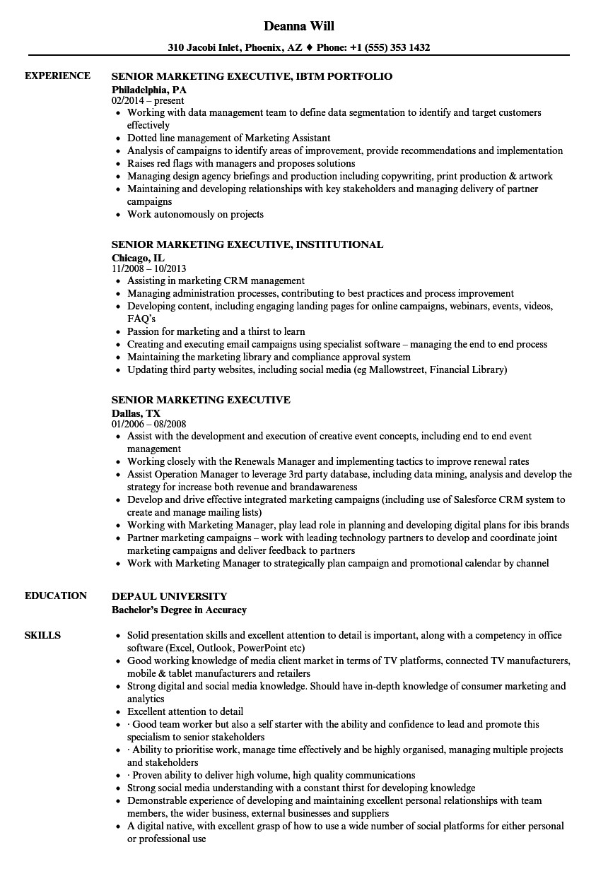 Sample Resume for Marketing Executive Position Sample Resume Of Marketing Executive Talktomartyb