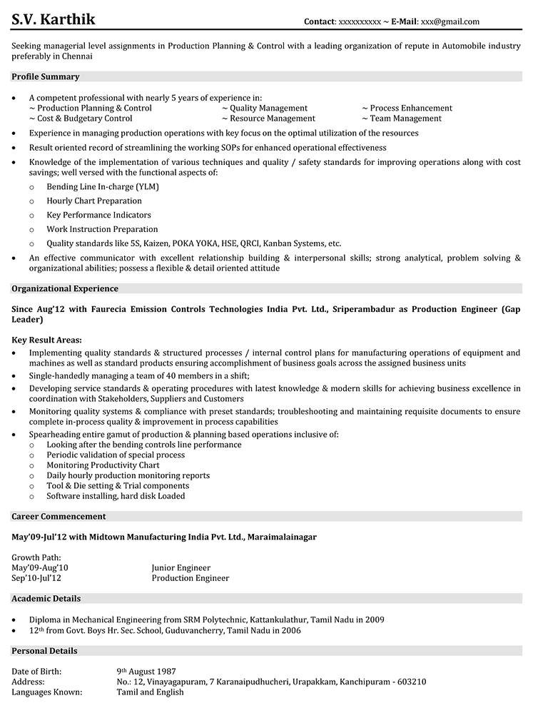 production design resume