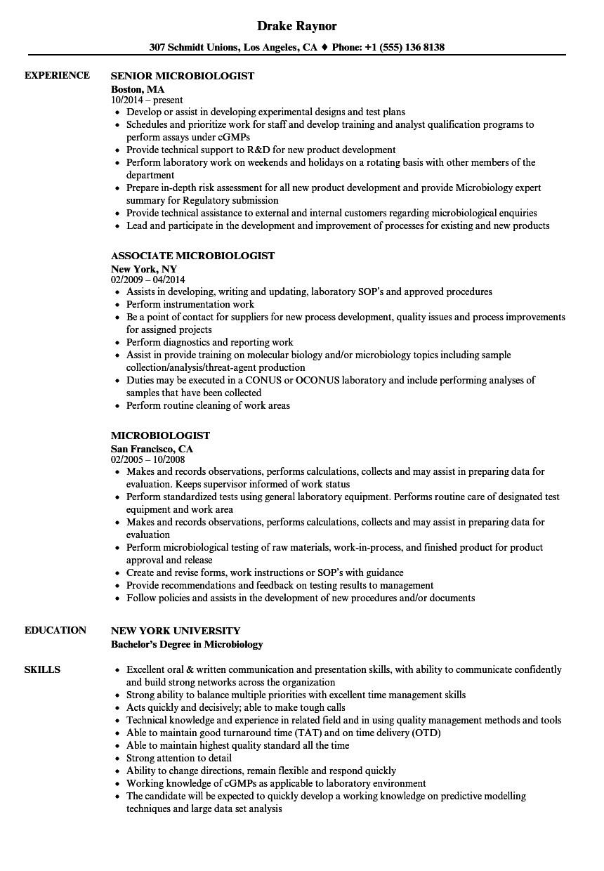 microbiologist resume sample
