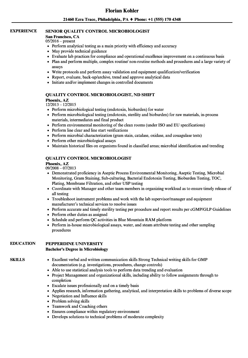 quality control microbiologist resume sample