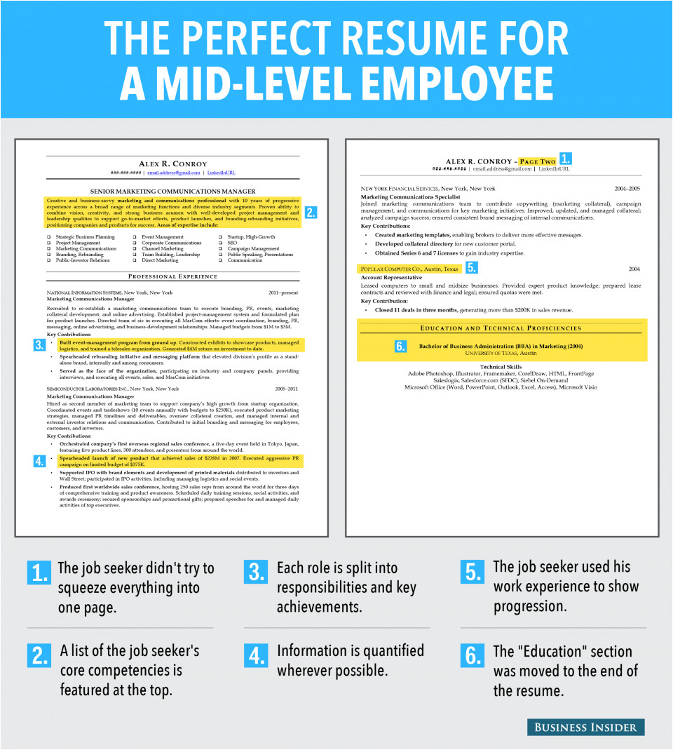 Sample Resume for Mid Level Position Ideal Resume for Mid Level Employee Business Insider