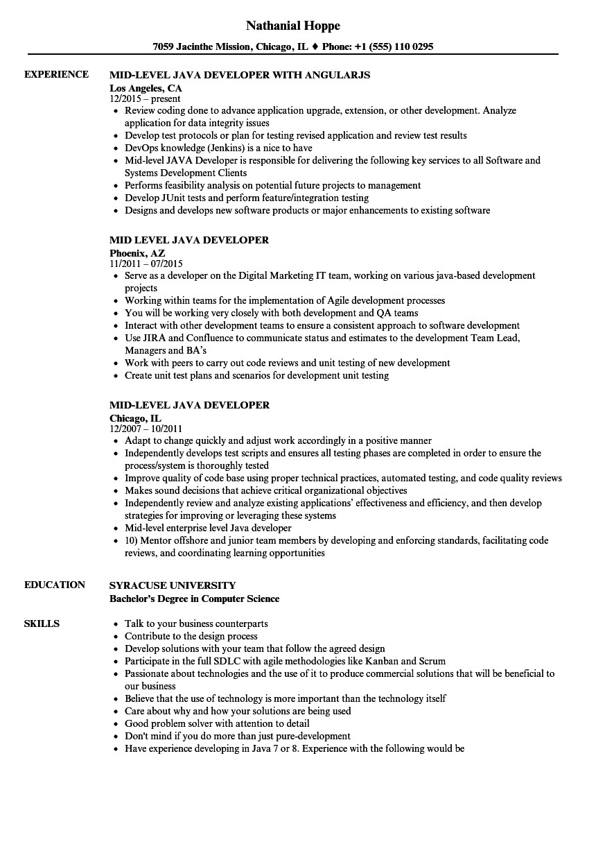 mid level java developer resume sample