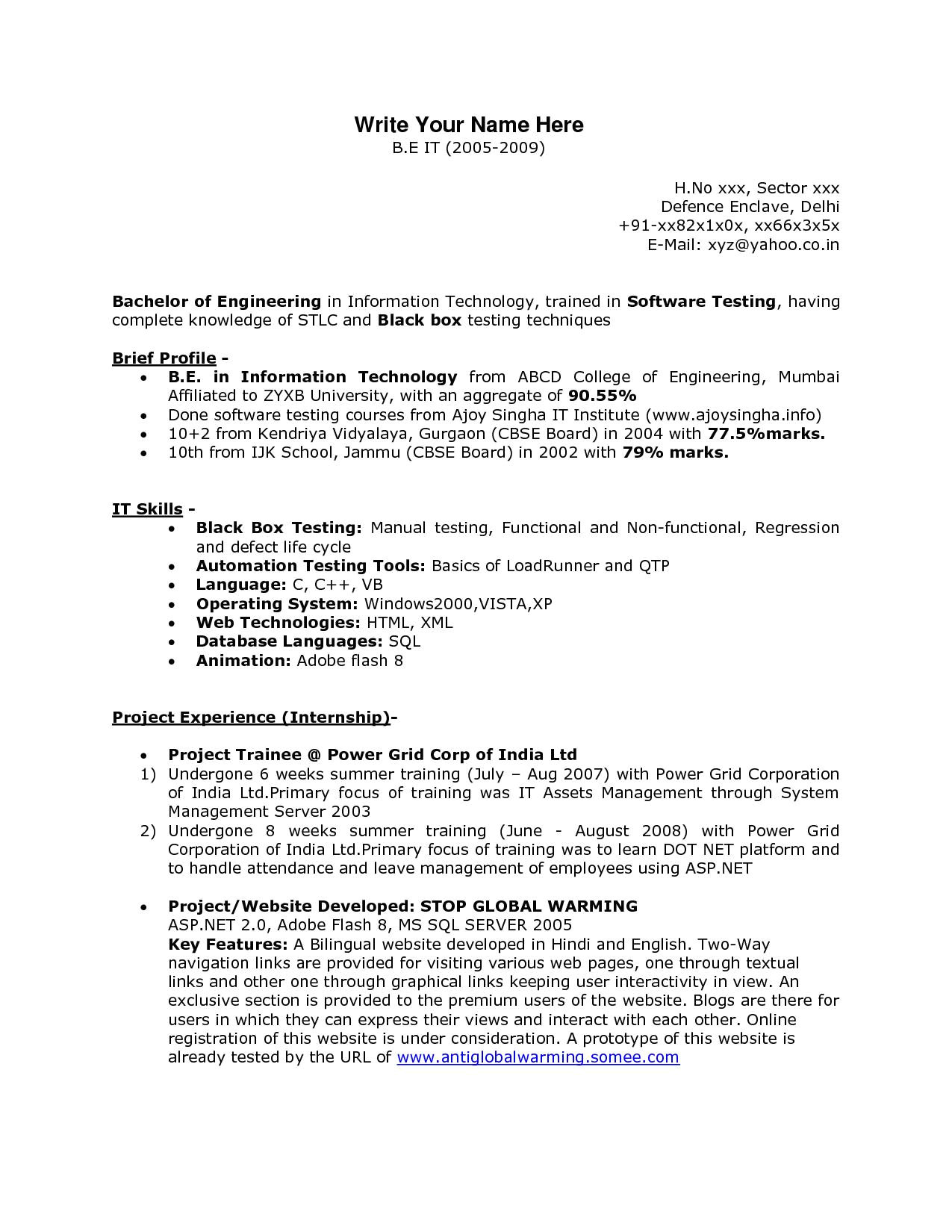 sample resume for c net developer fresh interesting resume dot net developer fresher in software testing