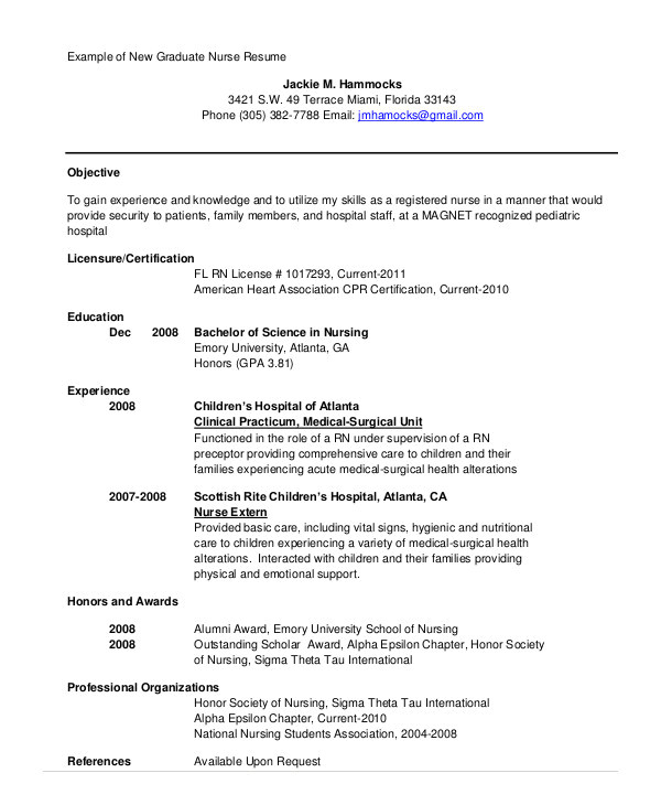 nursing student resumes