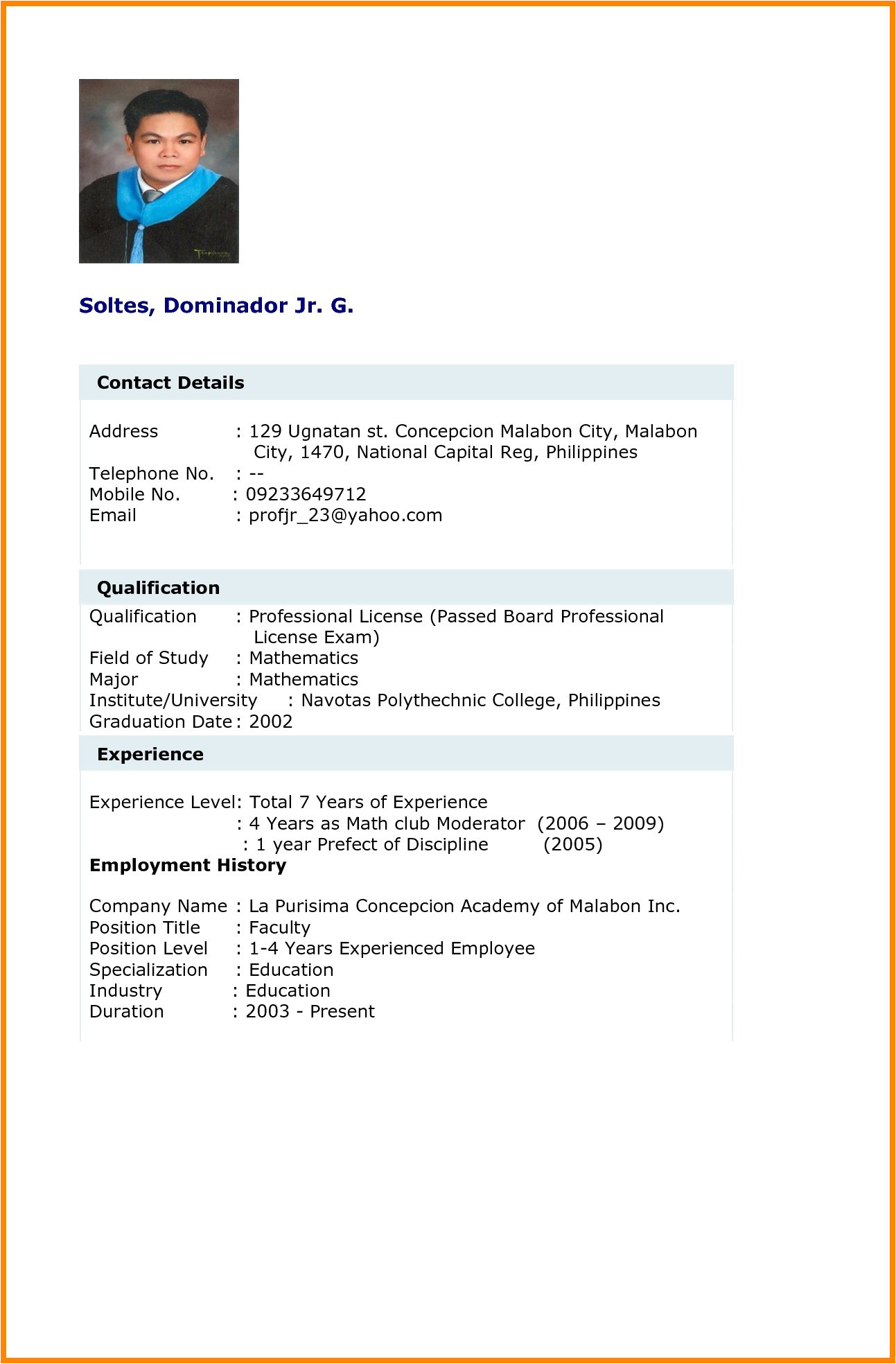 sample resume for non experienced applicant
