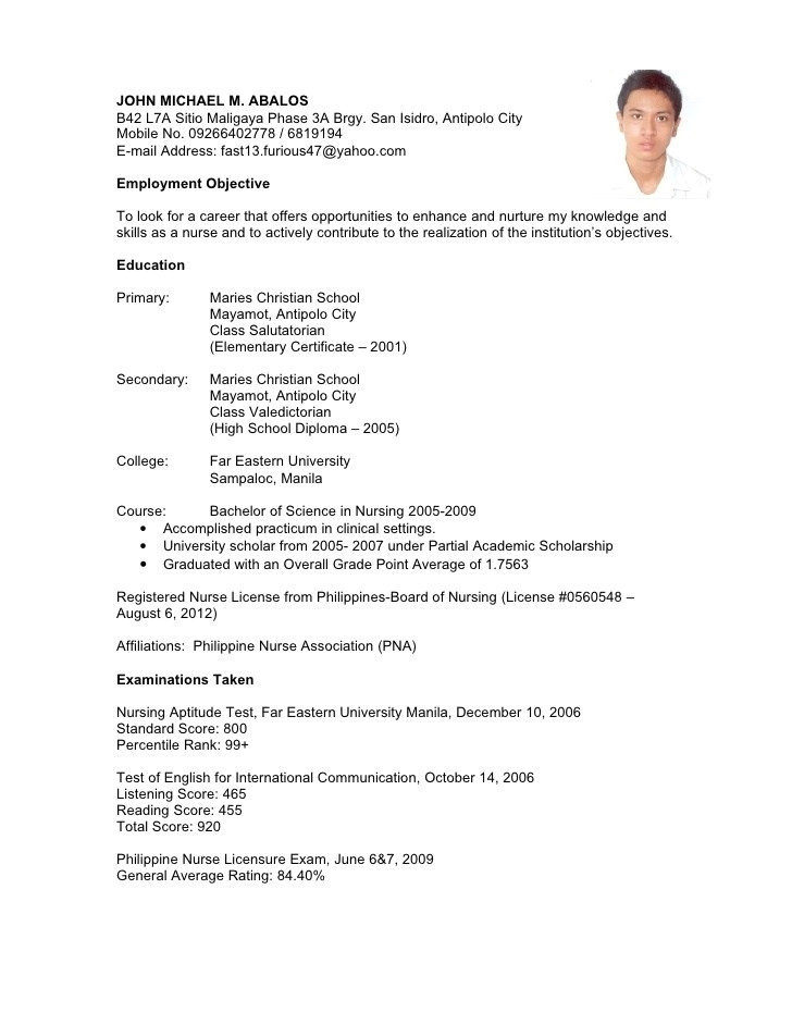 simple job application letter sample filipino
