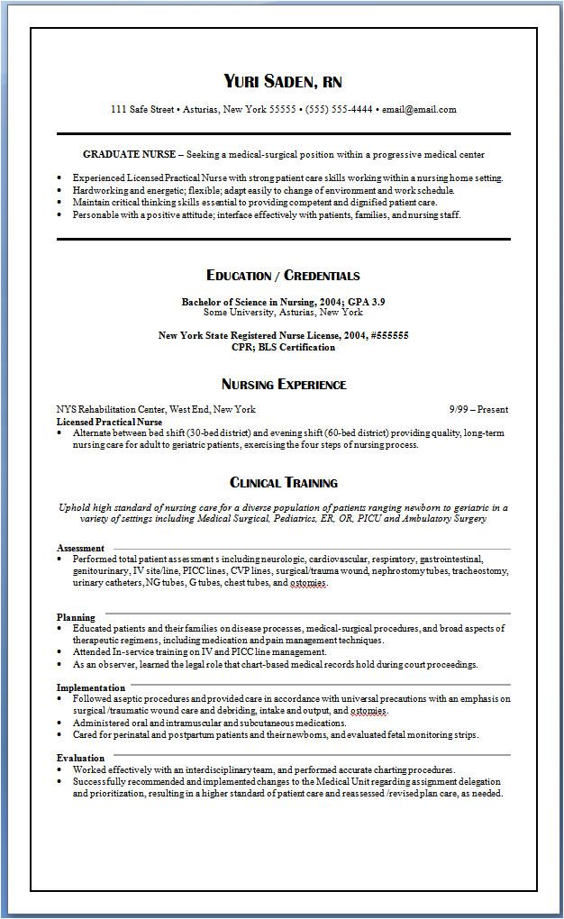 graduate nurse resume nursing resume samples for new graduates yuri saden