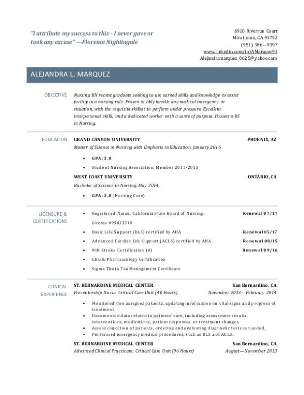new graduate nurse resume examples