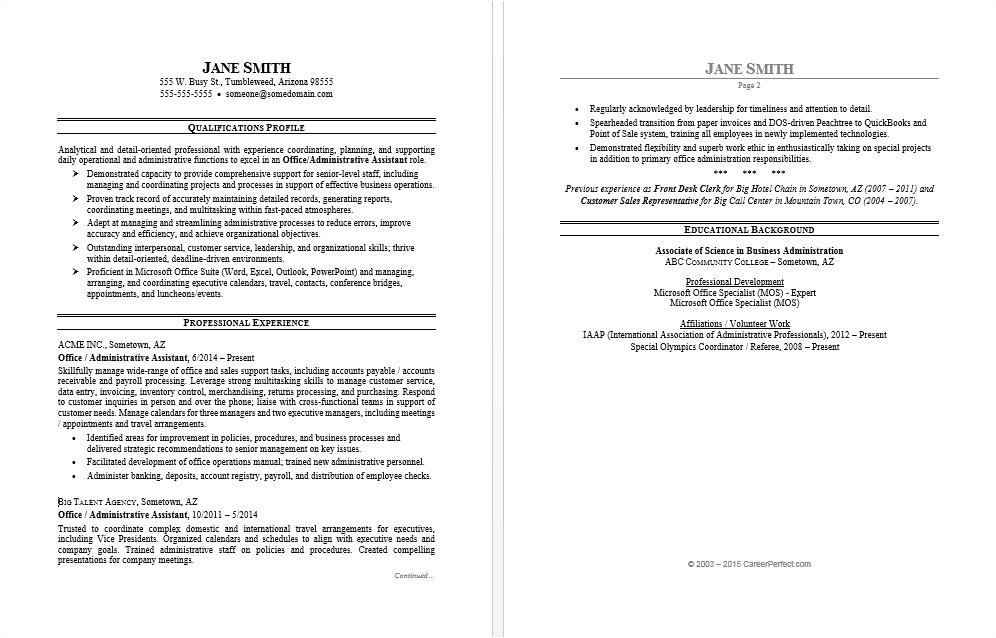 sample resume office assistant 2