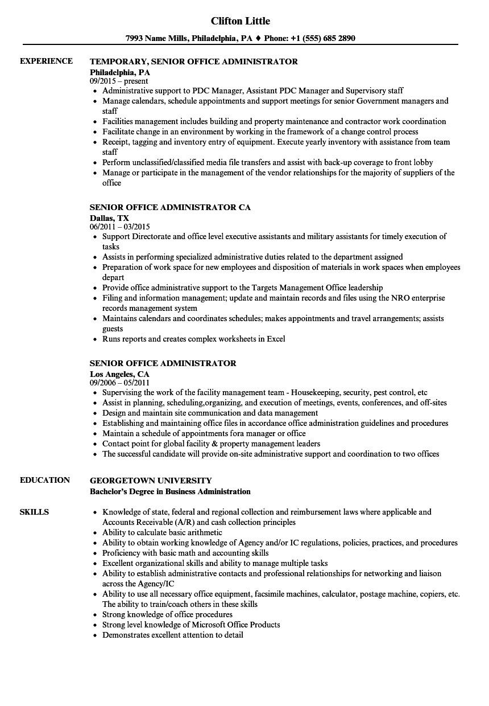 senior office administrator resume sample
