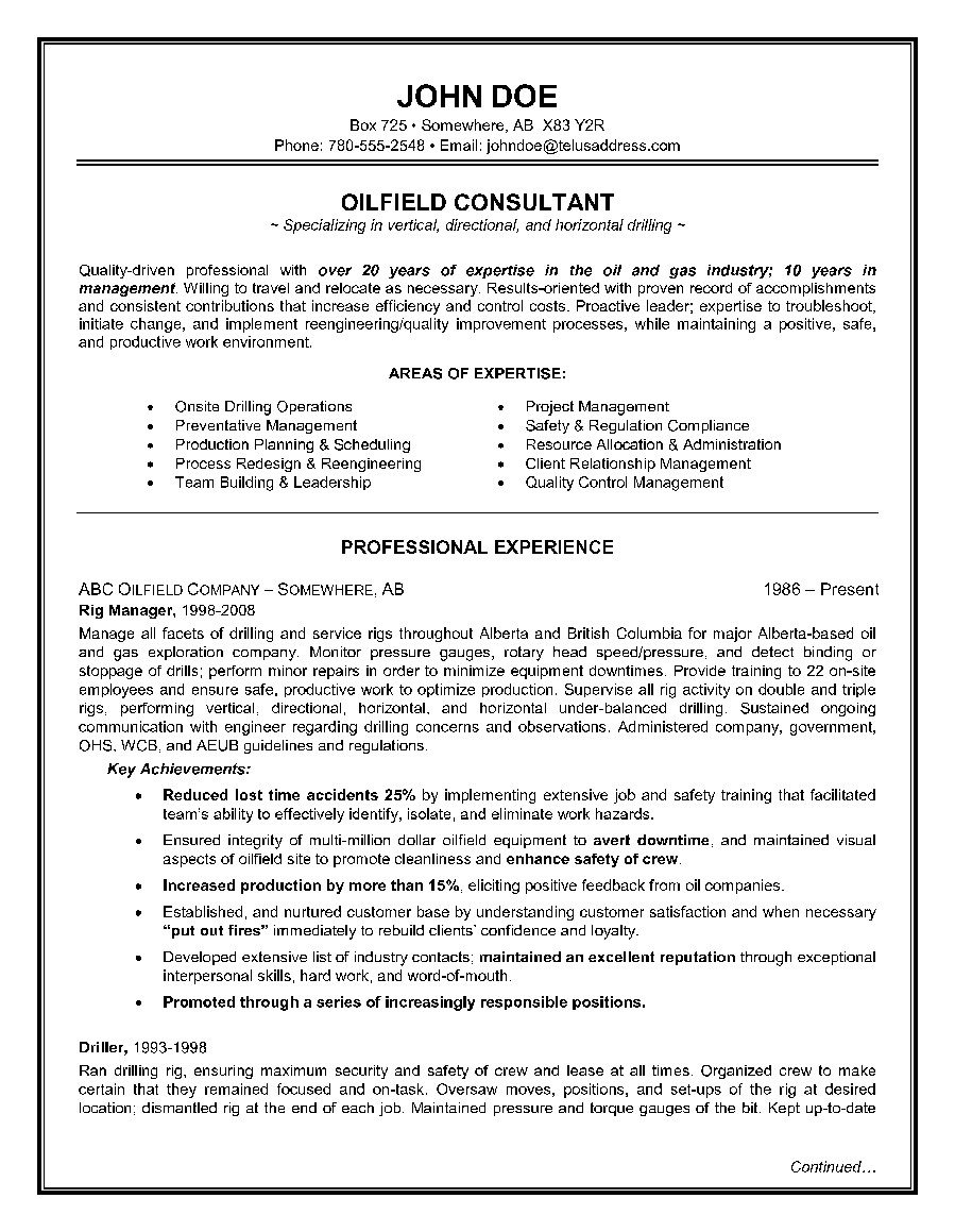 Sample Resume for Oil Field Worker Epic Example Of A Oilfield Consultant Resume Sample