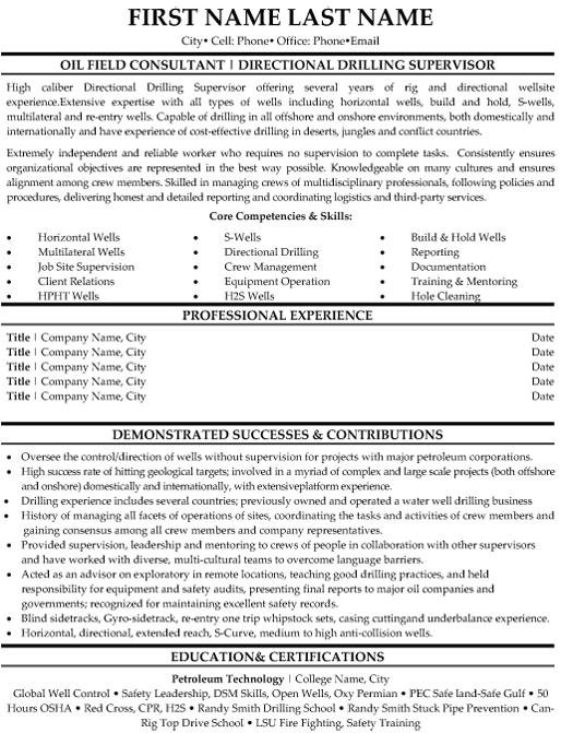 oilfield consultant resume sample