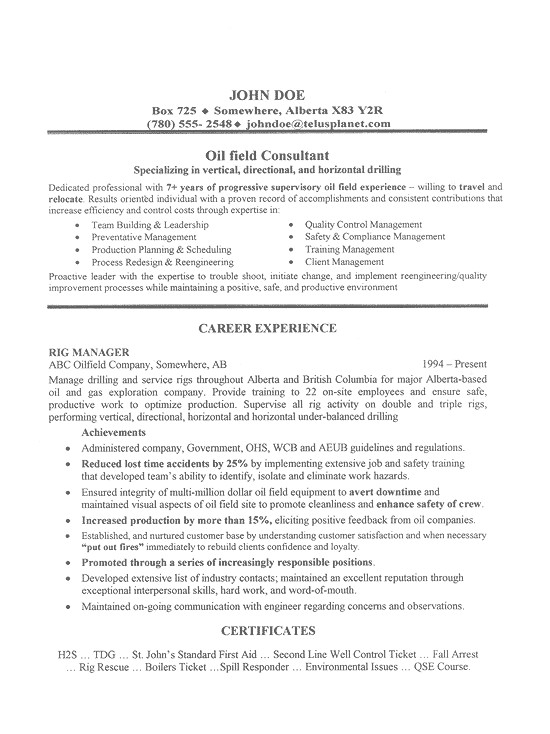 Sample Resume for Oil Field Worker Oil Field Job Resume Sample by Cando Career Coaching