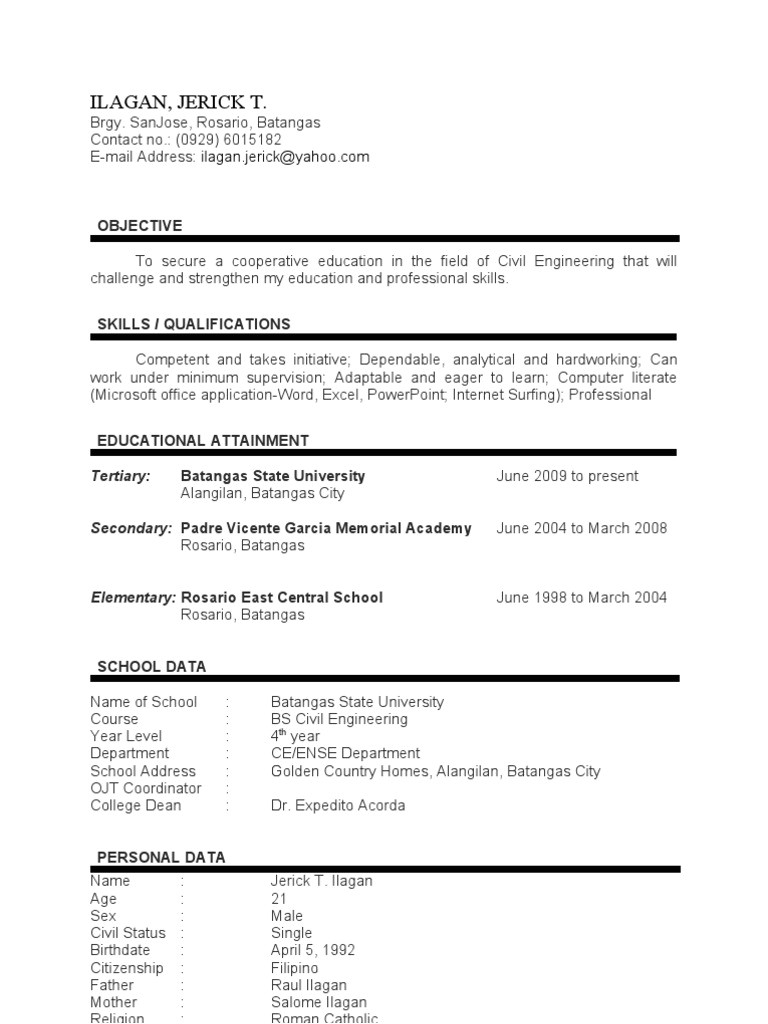 Sample Resume for Ojt Architecture Student Sample Resume for Ojt Architecture Student Resume Ideas