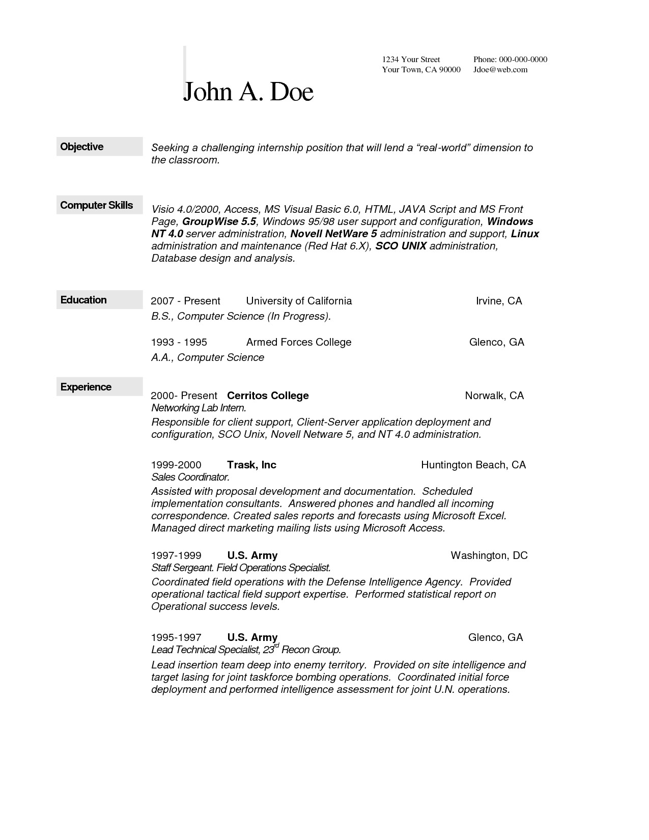 ojt resume computer engineering awesome sample resume for ojt puter science students