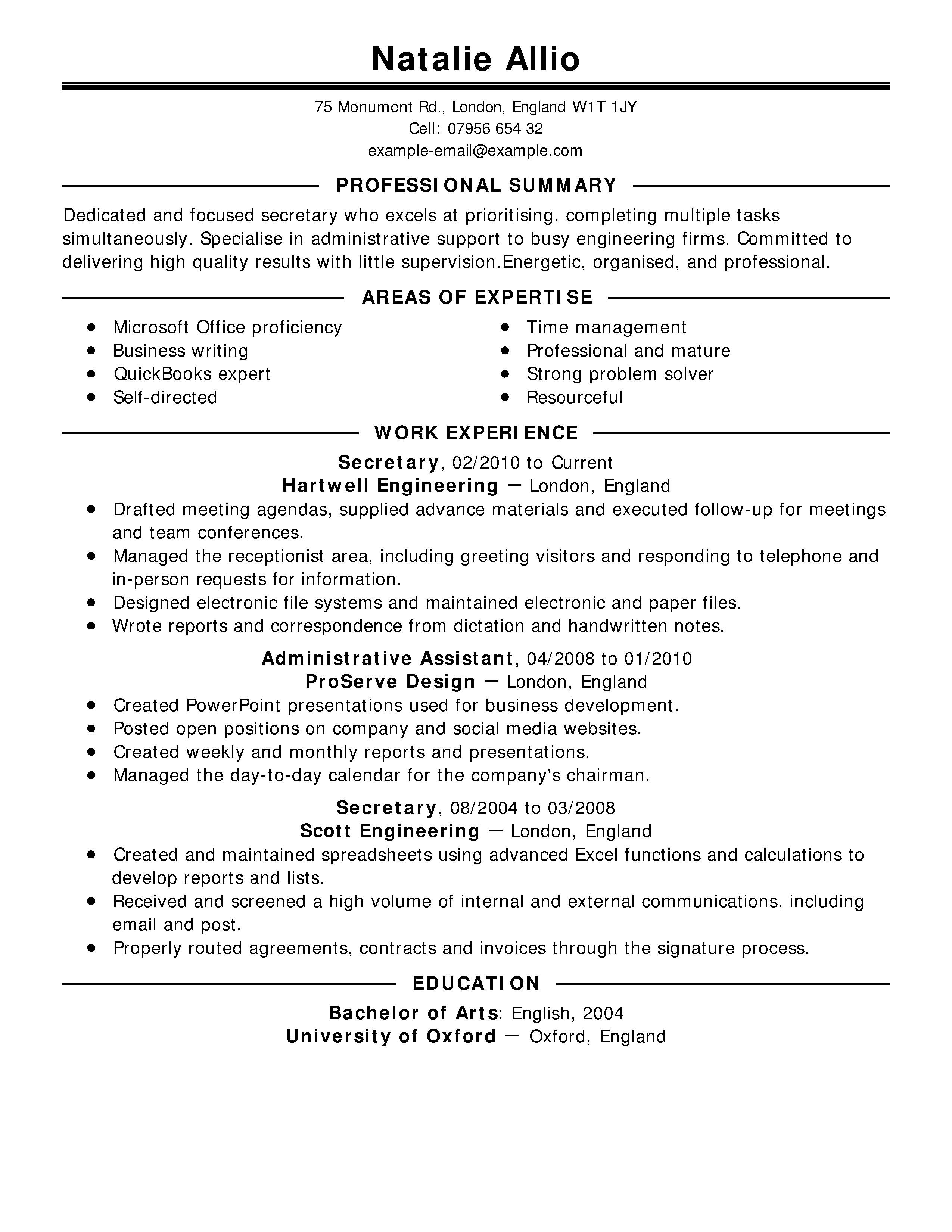 headline for resume for receptionist