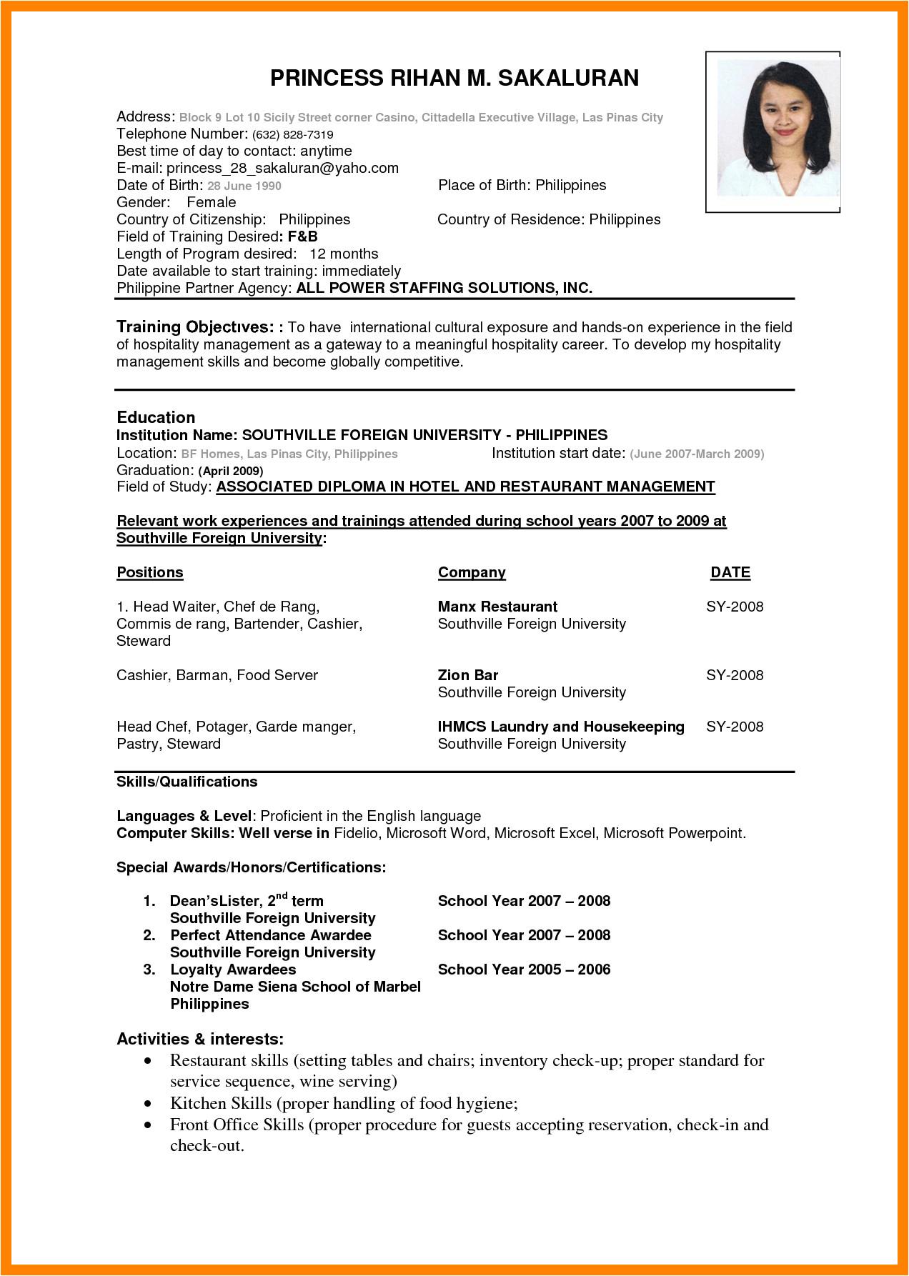 international curriculum vitae resume format for overseas jobs
