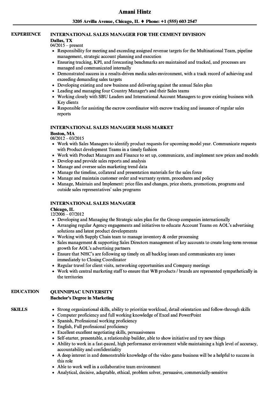 international sales manager resume sample
