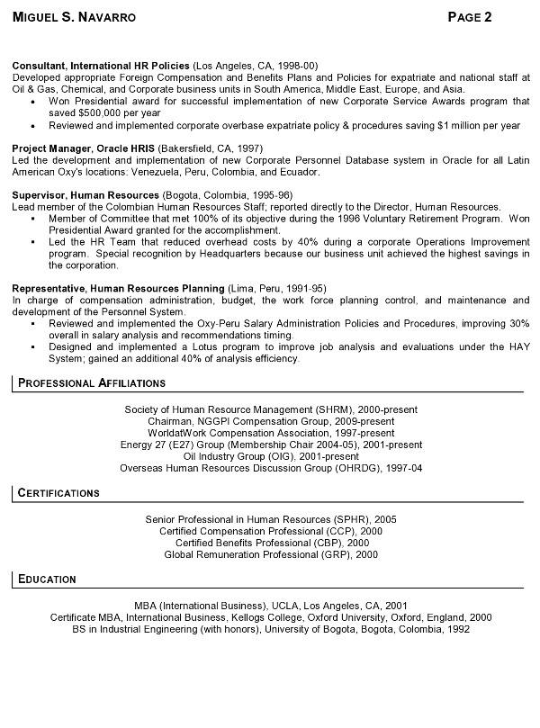 resume sample 8 international human resource executive