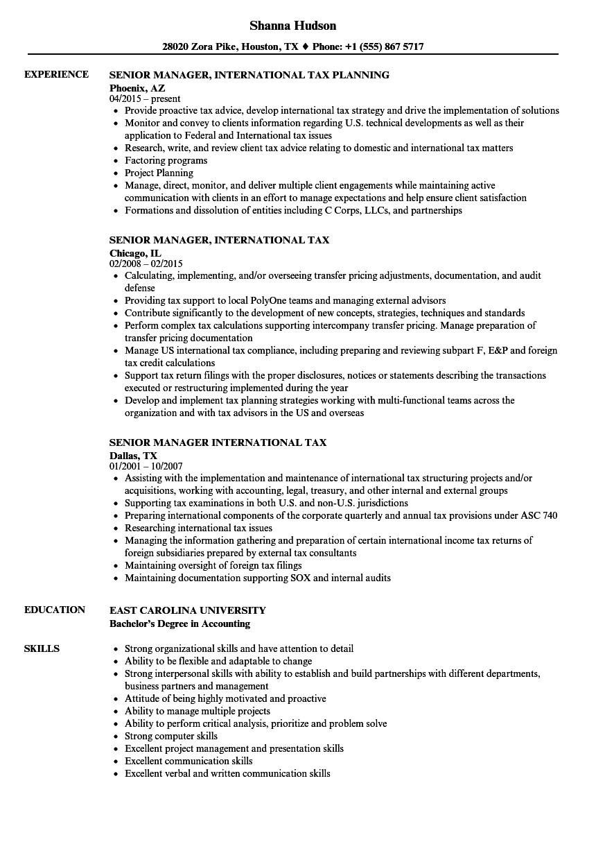 Sample Resume for Overseas Jobs Senior Manager International Tax Resume Samples Velvet Jobs