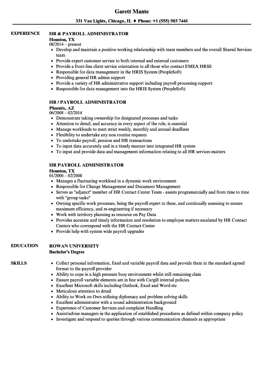 hr payroll administrator resume sample