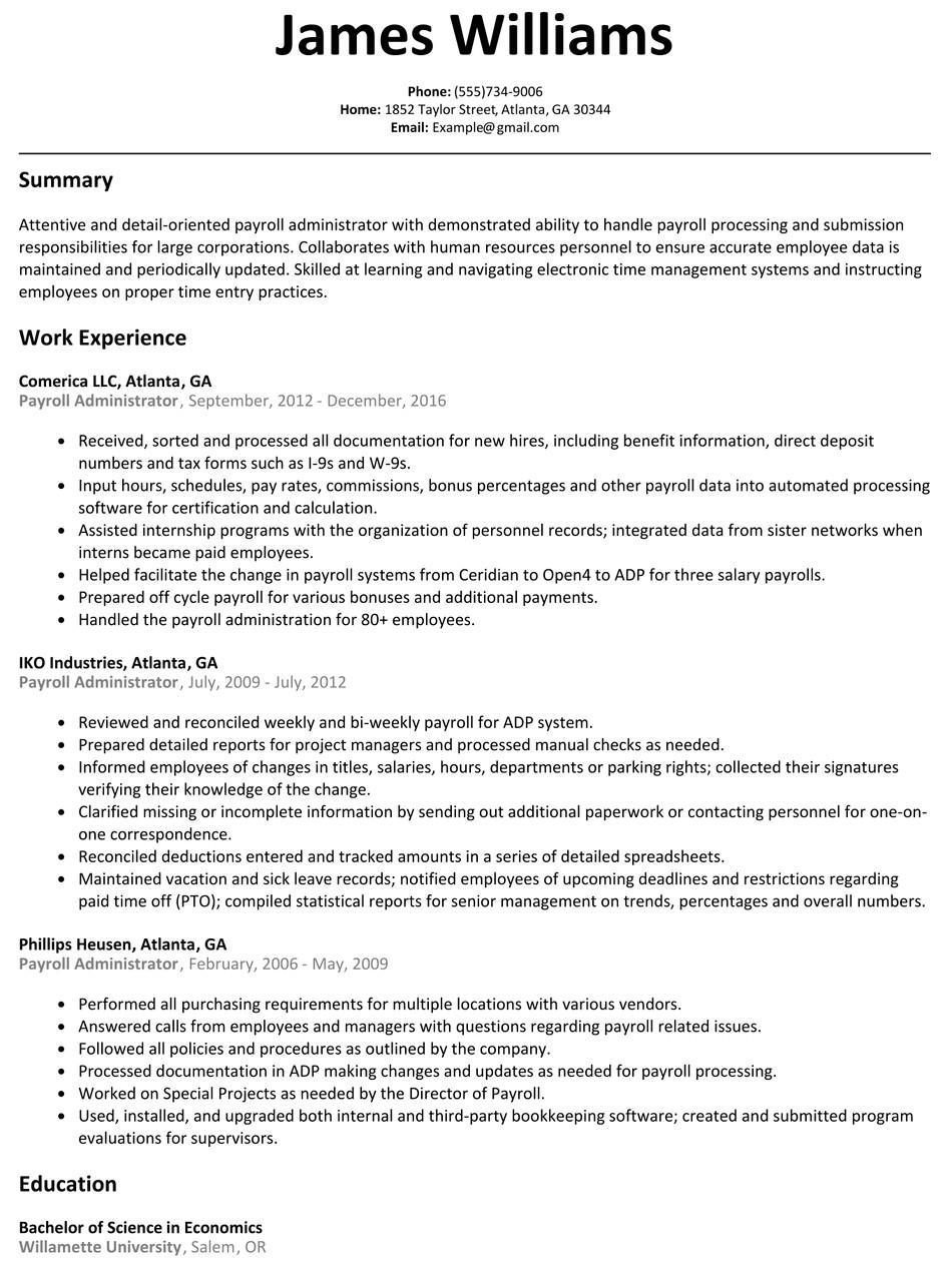 Sample Resume for Payroll assistant Payroll Administrator Resume Sample Resumelift Com