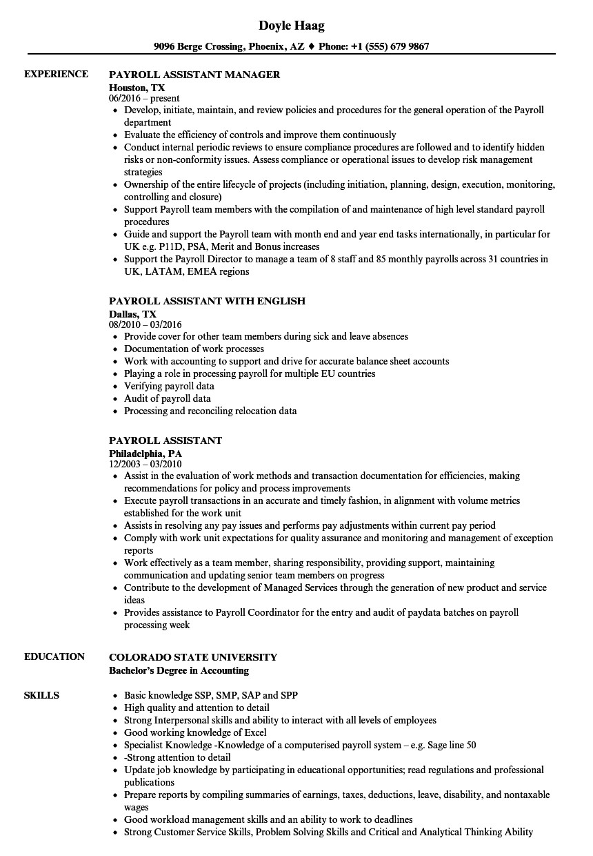 payroll assistant resume sample