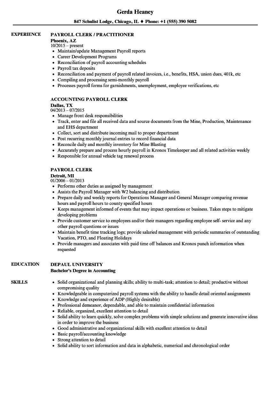 payroll clerk resume sample