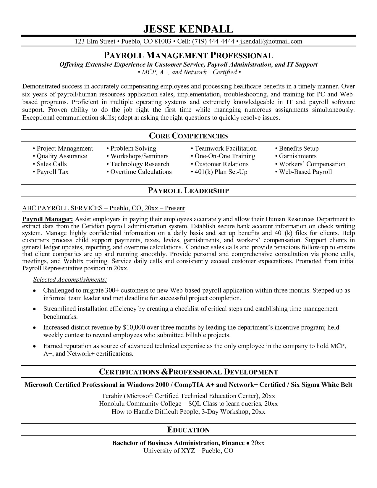 payroll manager resume 1668