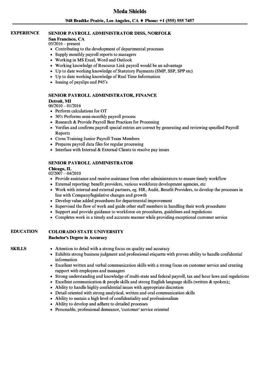 Sample Resume for Payroll assistant Senior Payroll Administrator Resume Samples Velvet Jobs