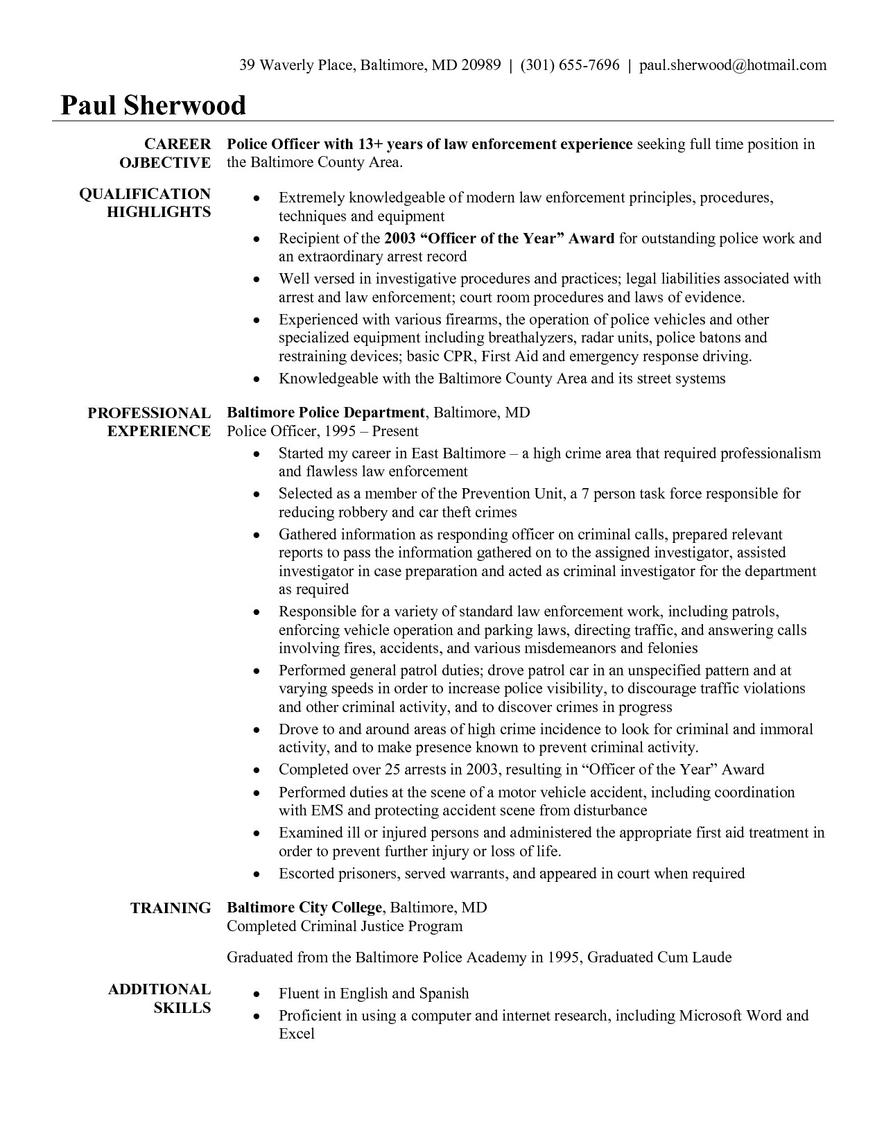 Sample Resume for Police Officer with No Experience Resume for Police Officer with No Experience Free