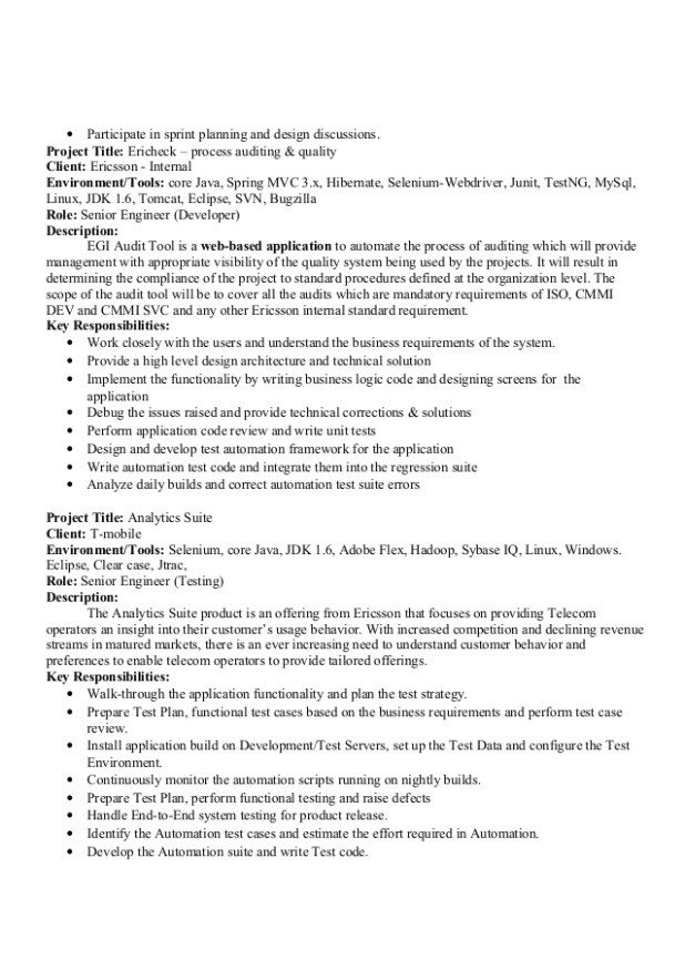free download sample sample resume qtp automation testing jobs