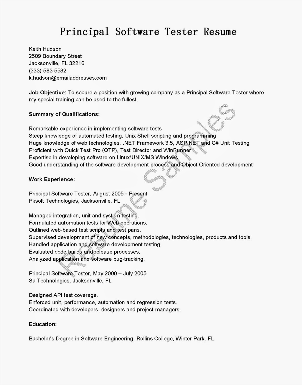 qtp automation tester resume