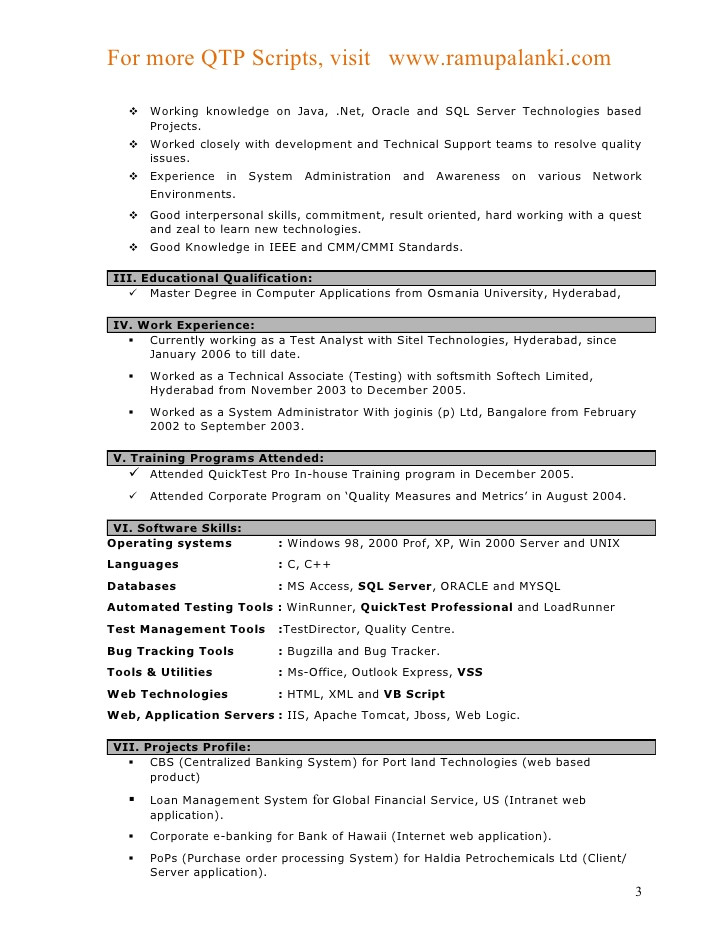 Sample Resume for Qtp Automation Testing Qtp Resumes for Experienced Annecarolynbird