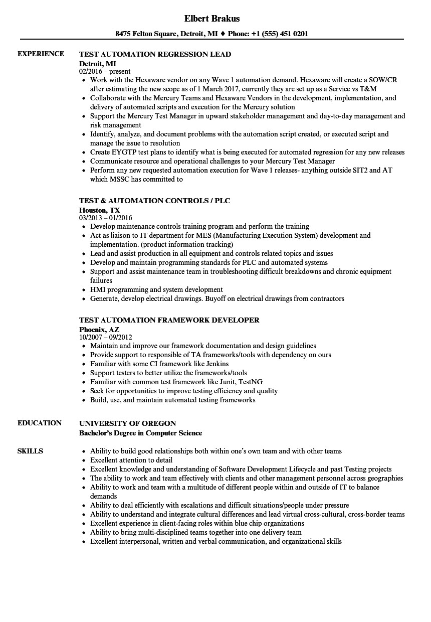 test automation resume sample