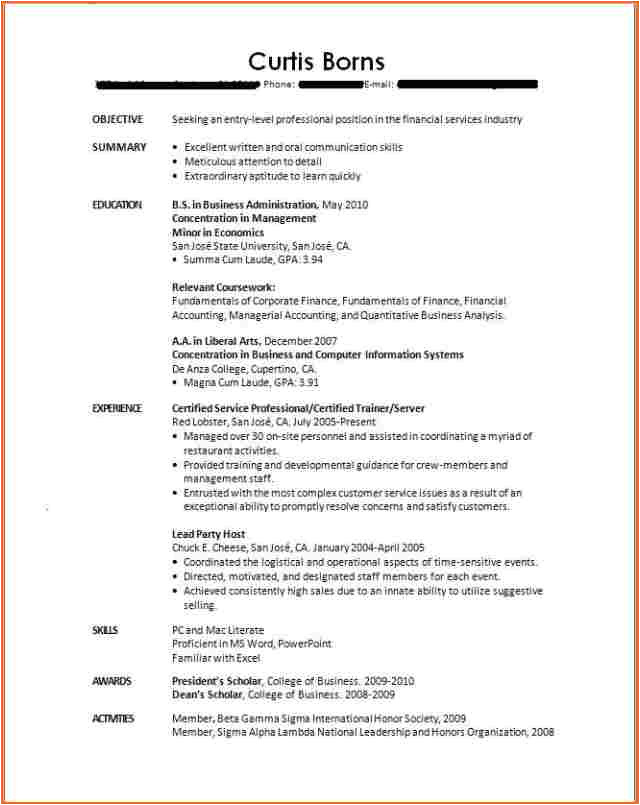 10 resume template recent college graduate
